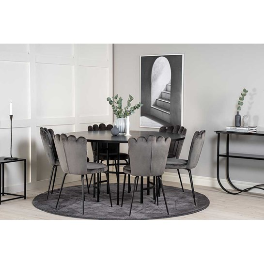 Furniture Fashion Matgrupp Copenhagen Svart & 6st Limhamn